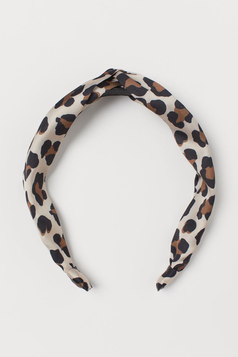 Hairband with Knot - Light beige/leopard print - Ladies | H&M CA