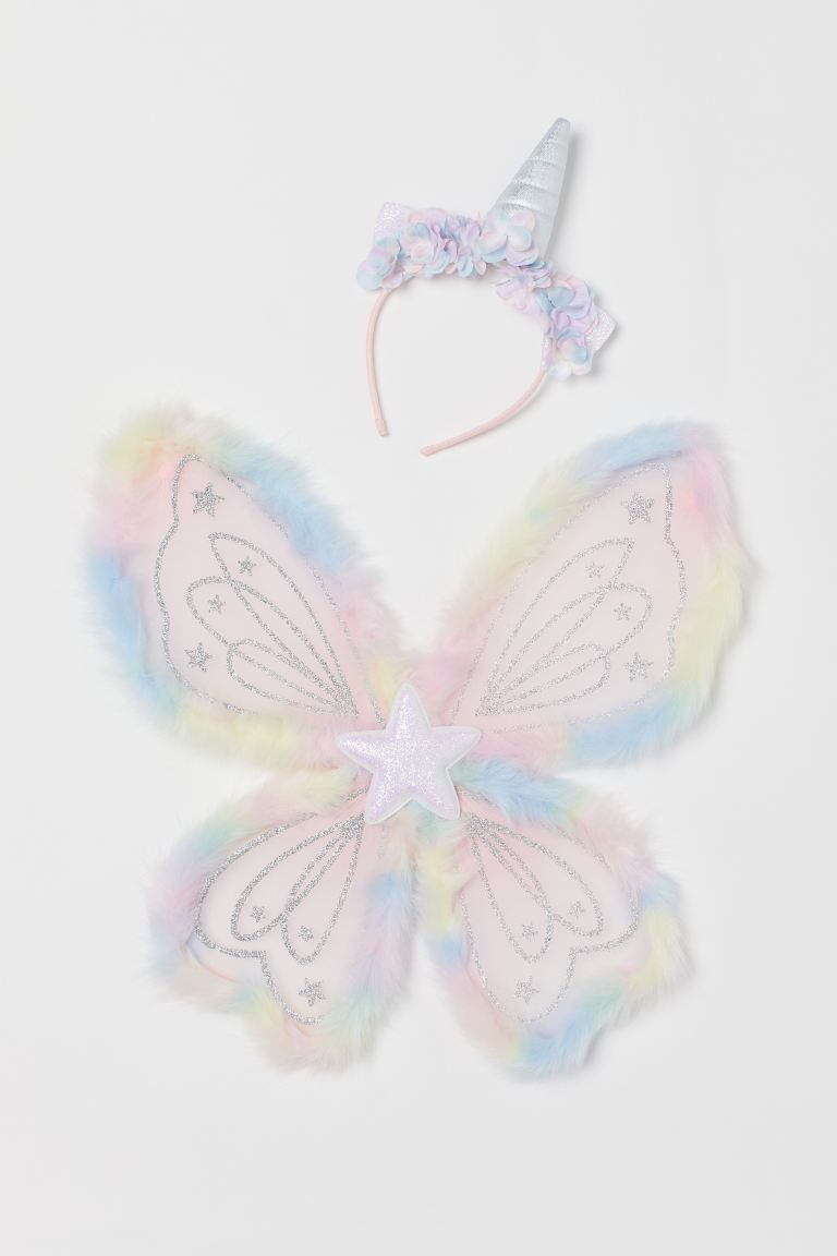 Unicorn Hairband and Wings - Pink/glittery - Kids | H&M US
