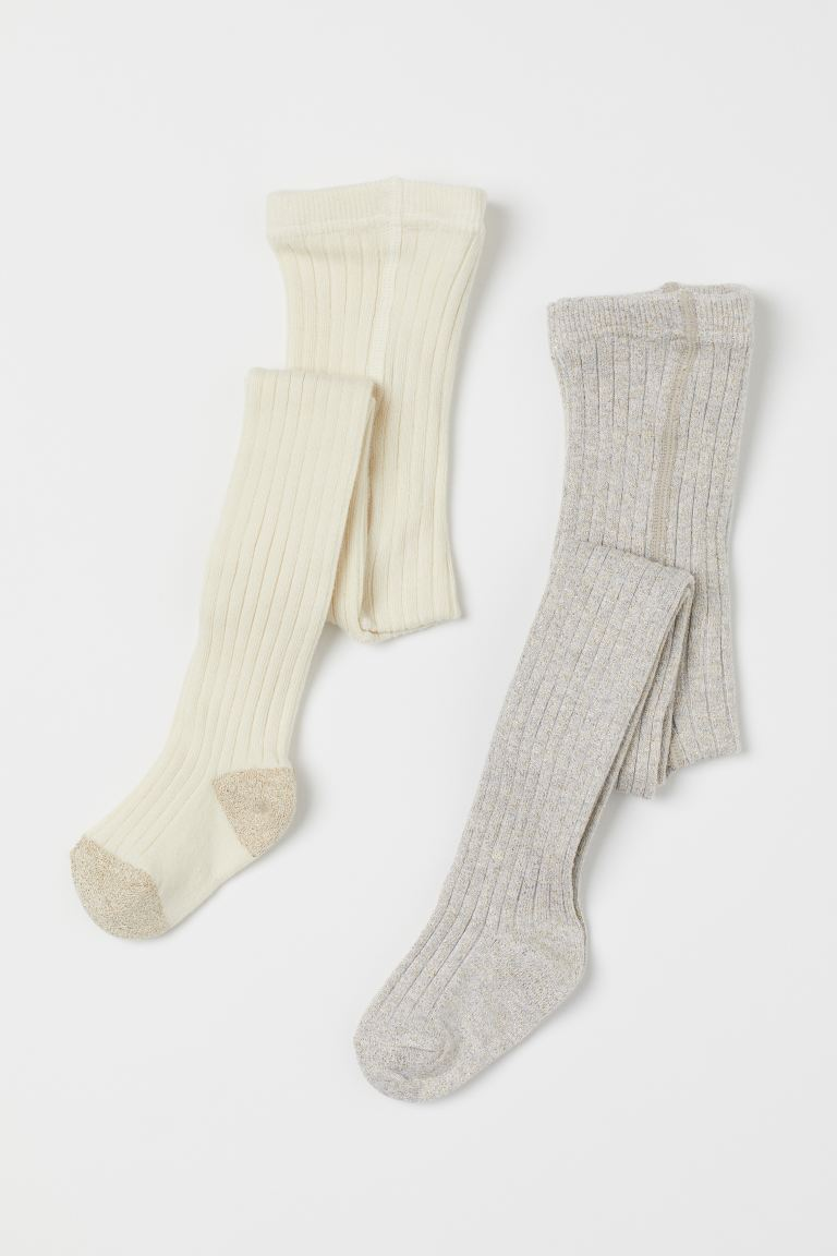 2-pack ribbed tights - Light grey/Glittery - Kids | H&M GB