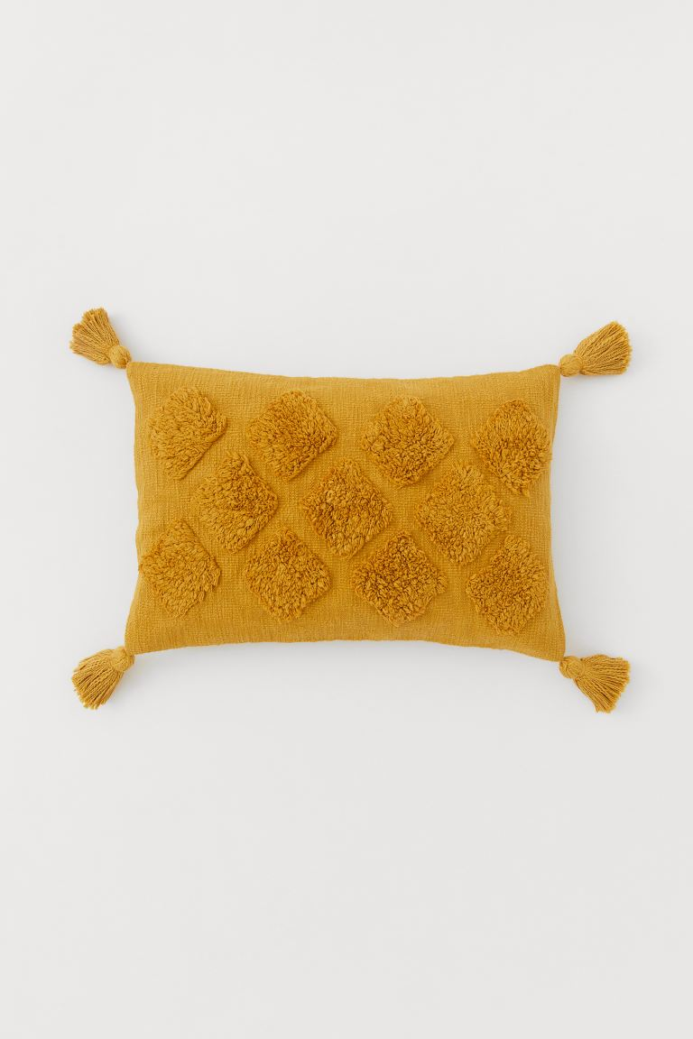 Tasselled cushion cover - Mustard yellow - Home All | H&M GB