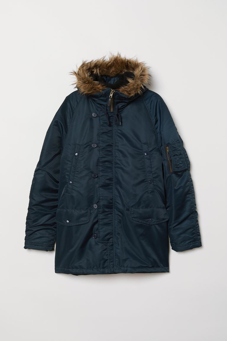 Padded Parka - Dark blue - Men | H&M US