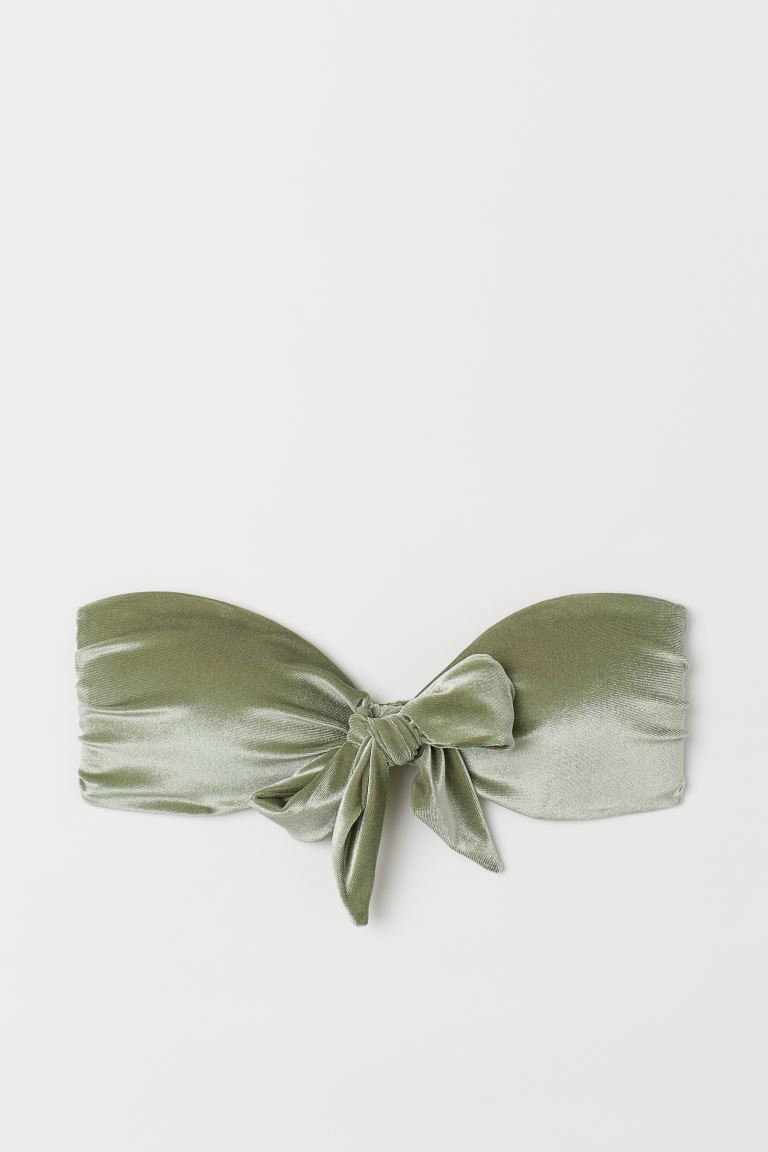 Velour bandeau bikini top - Khaki green - Ladies | H&M GB
