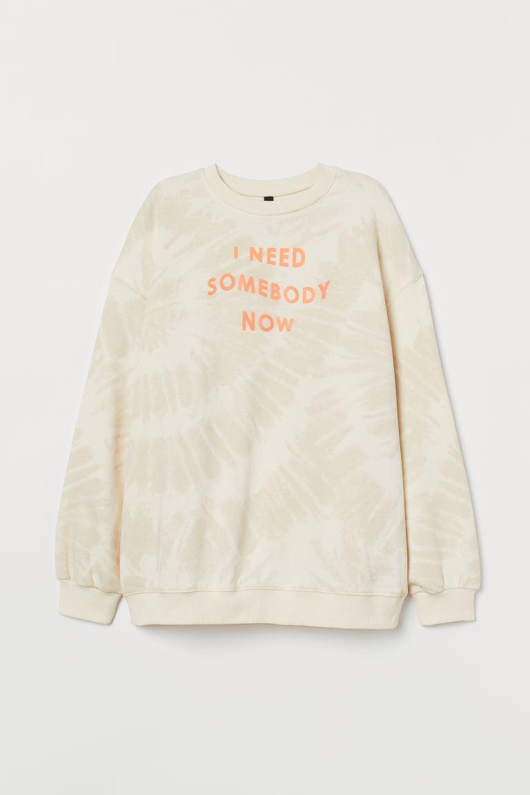 Printed sweatshirt - Beige marl/Shawn Mendes - Ladies   H&M GB