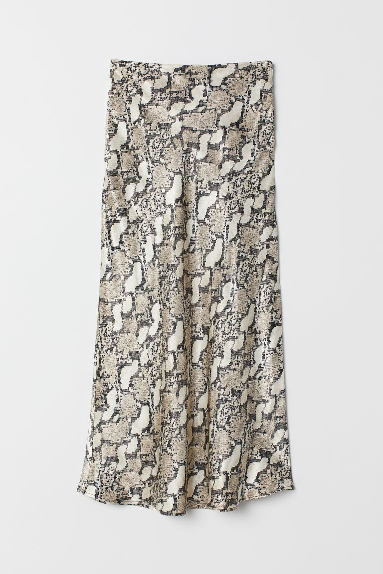 Calf-length skirt - Grey/Snakeskin-patterned - Ladies | H&M GB