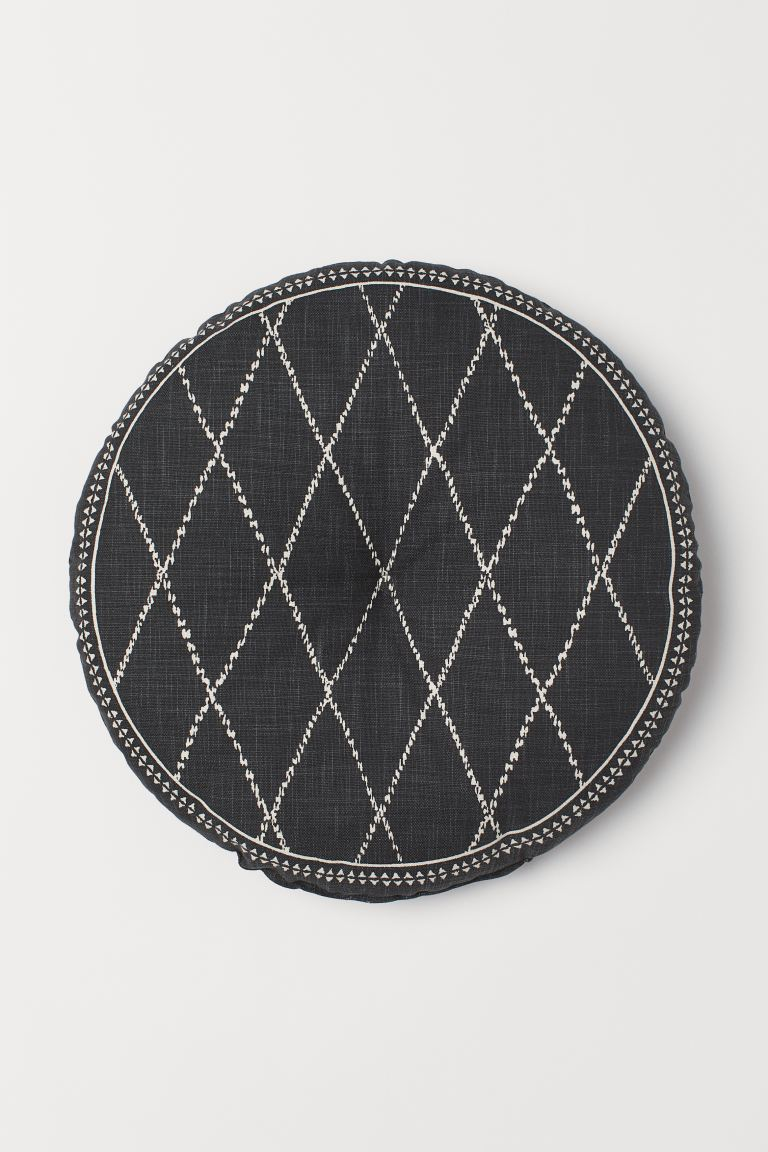 Cotton Seat Cushion - Dark gray/patterned - Home All | H&M US