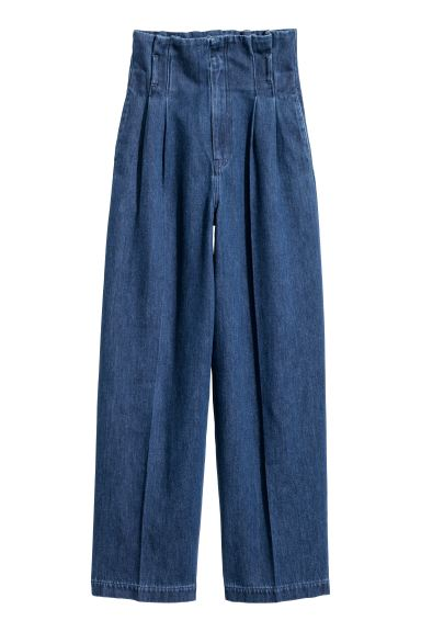 Paper bag jeans - Denim blue - Ladies | H&M GB