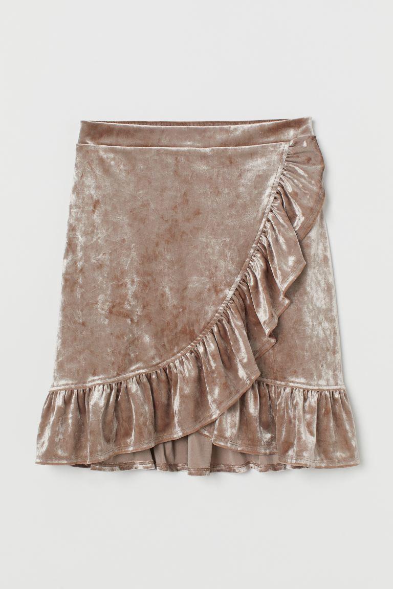 Crushed Velvet Skirt Taupe H M Us