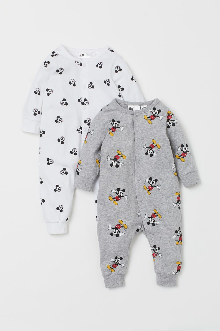 2-pack all-in-one pyjamas - Light grey marl/Mickey Mouse -  | H&M