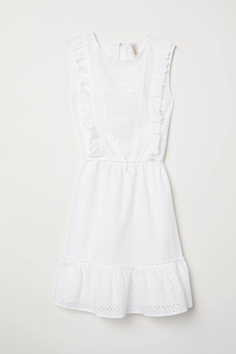 Dress with Eyelet Embroidery - White - Ladies | H&M US