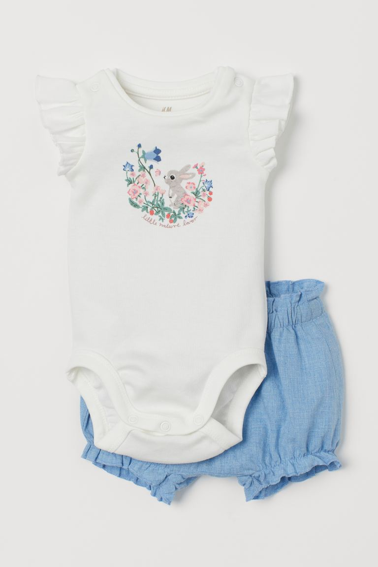 2-piece cotton set - White/Rabbit - Kids | H&M
