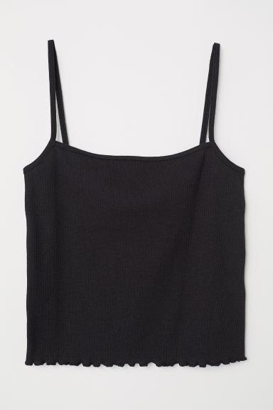 短版細肩帶上衣 黑色 Ladies H M
