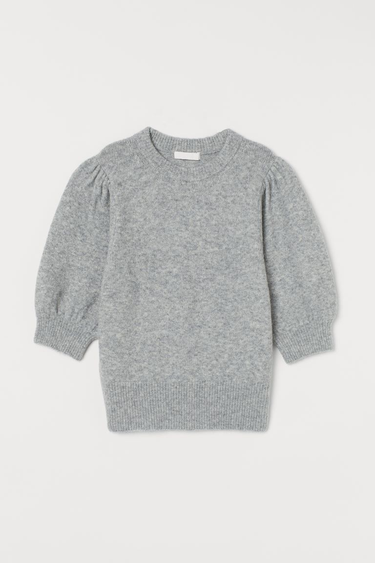 Puff-sleeved knitted jumper - Light grey marl - Ladies | H&M GB
