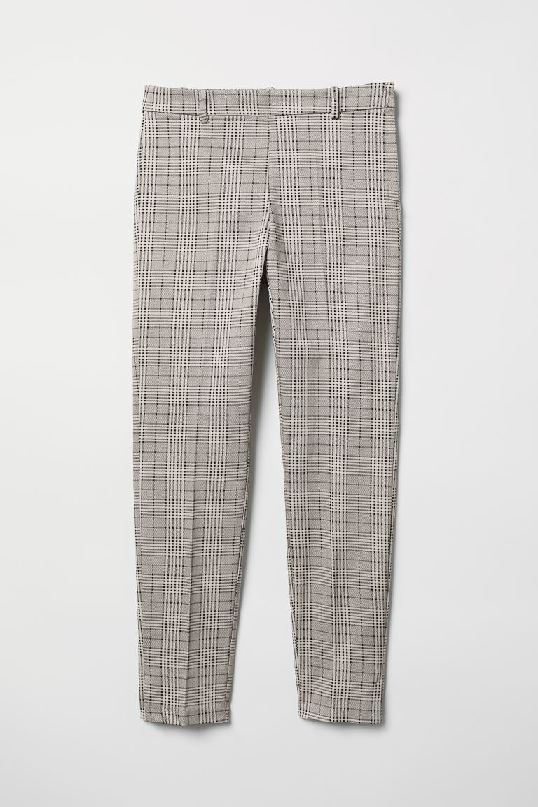 Cigarette trousers - Light beige/Checked - Ladies | H&M GB