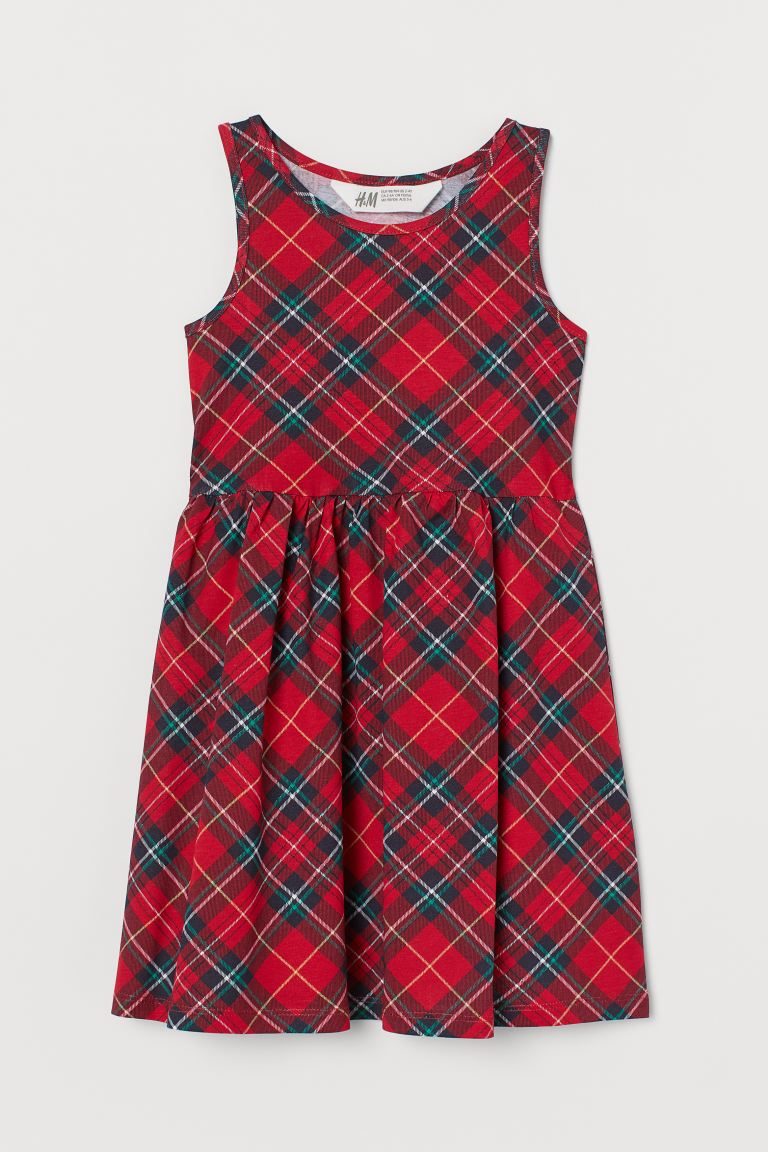 Patterned jersey dress - Red/Checked - Kids | H&M