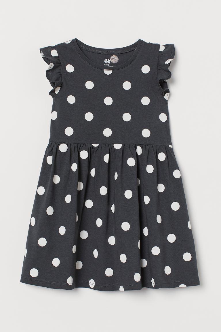 Jersey dress - Dark grey/Spotted - Kids | H&M GB