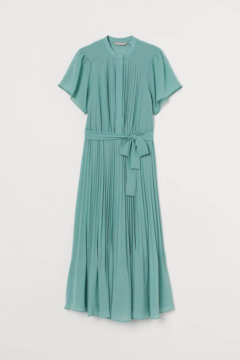 Pleated Chiffon Dress - Turquoise - Ladies | H&M US