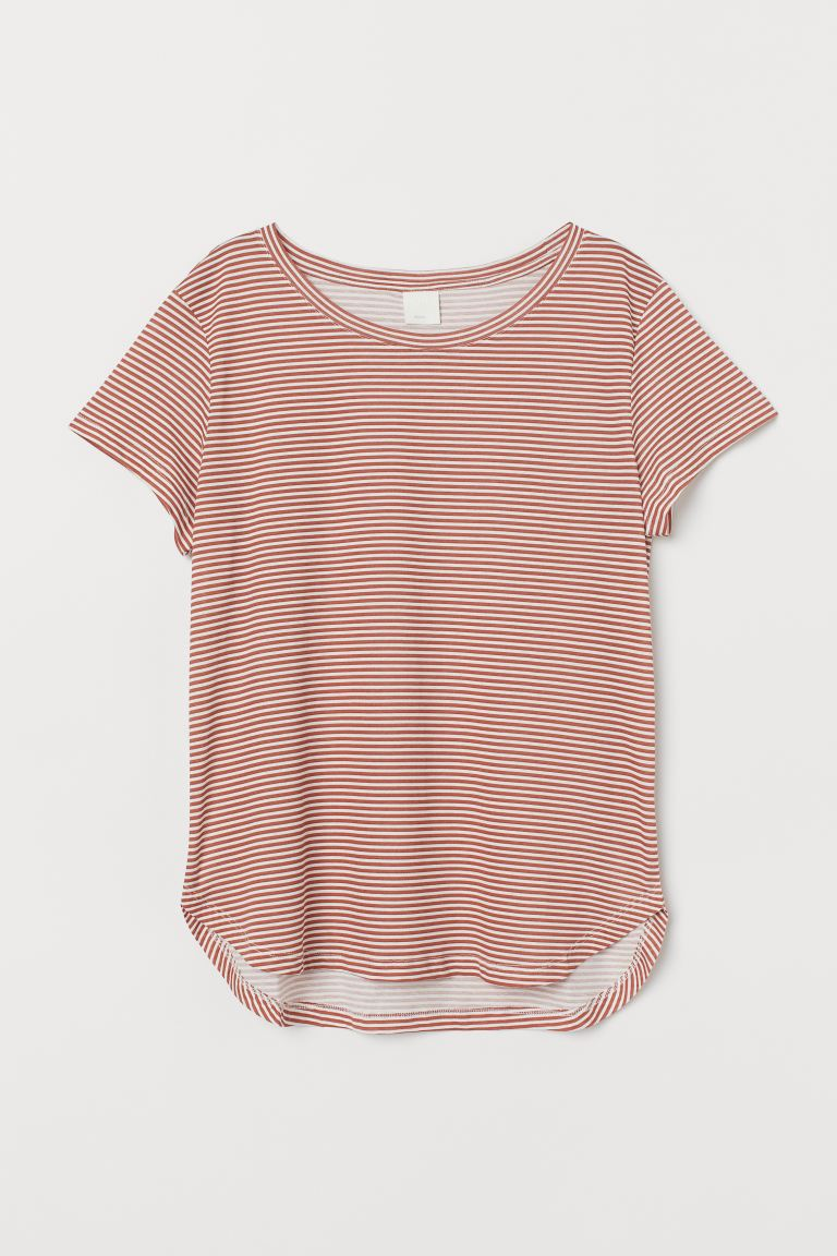 Jersey Top - Rust red/striped - Ladies | H&M US