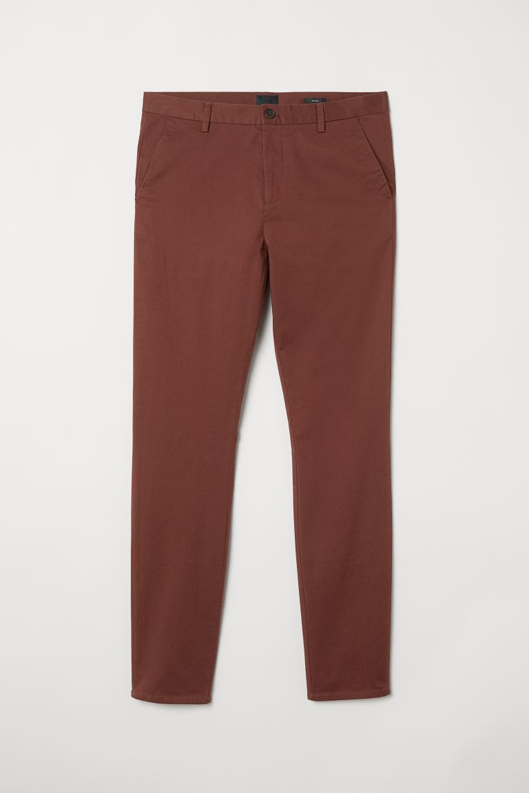 Katoenen chino - Slim fit - Roodbruin - HEREN | H&M NL