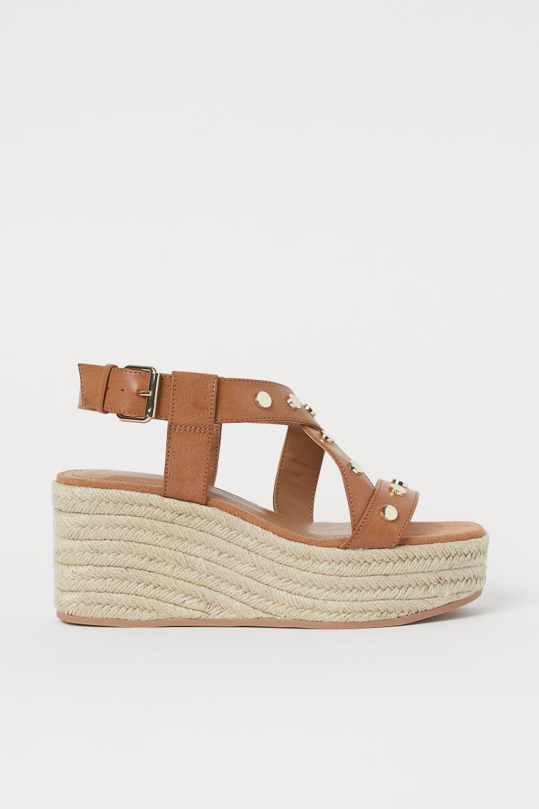 Wedge-heeled Sandals - Light brown - Ladies | H&M US