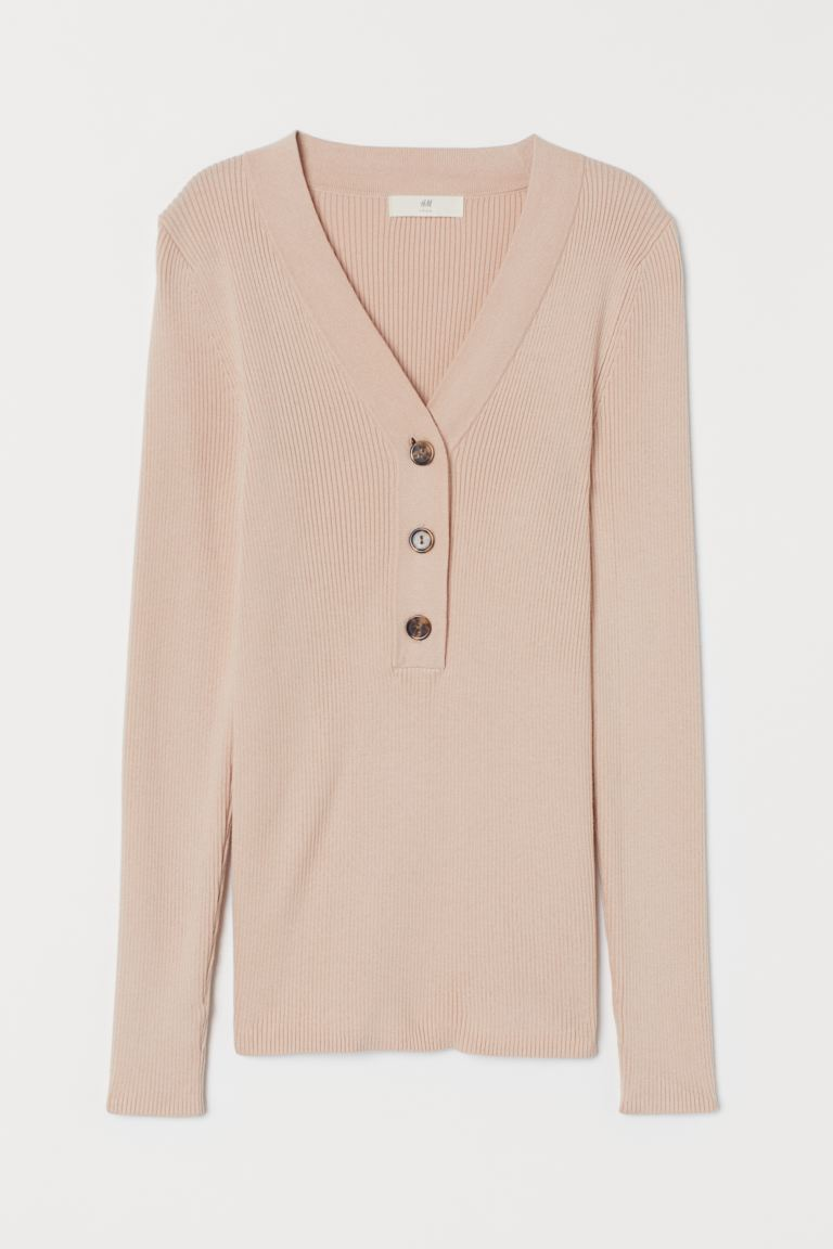 Ribbed jumper - Powder pink - Ladies | H&M