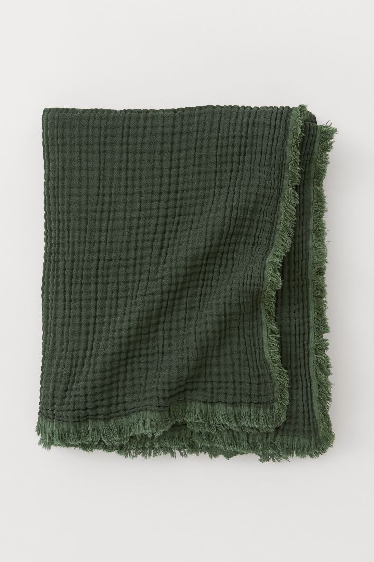 Cotton Throw - Dark green - Home All | H&M US