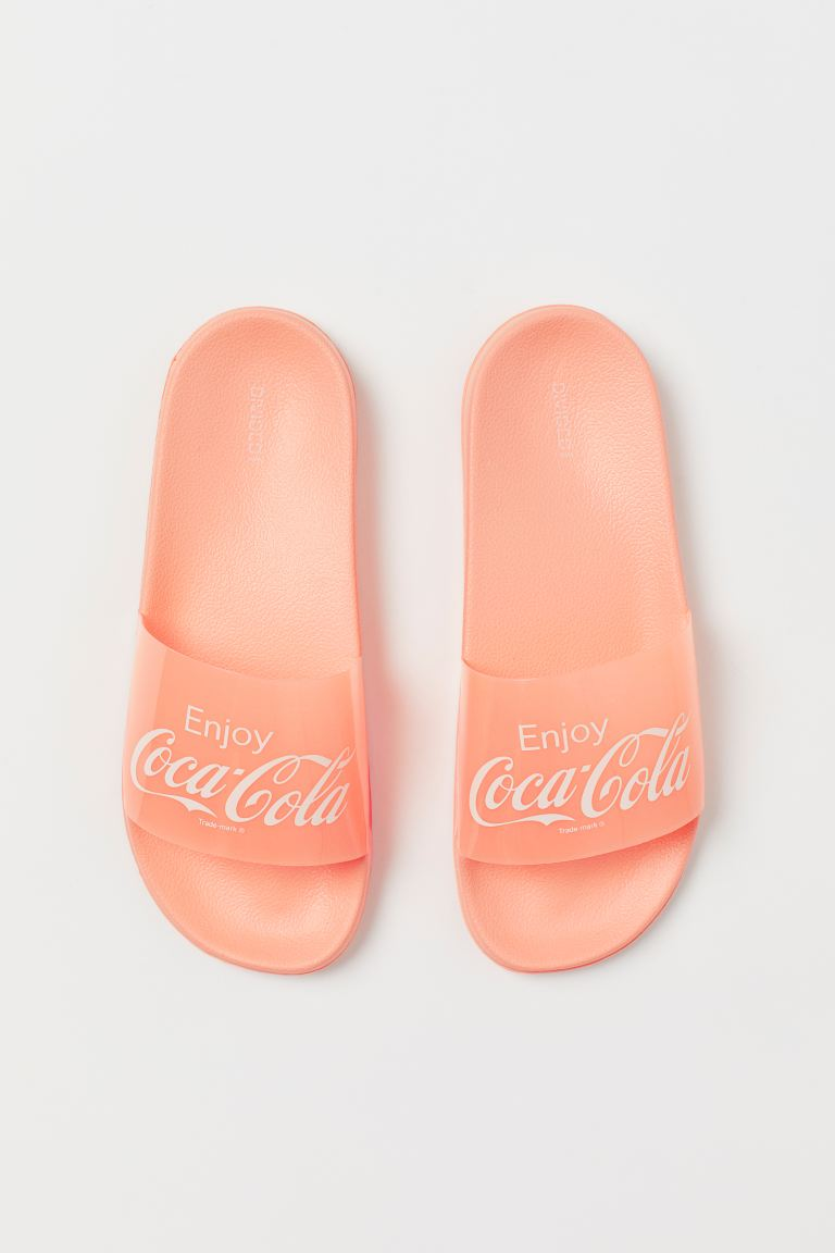 Badesandalen mit Druck - Koralle/Coca-Cola - Ladies | H&M AT