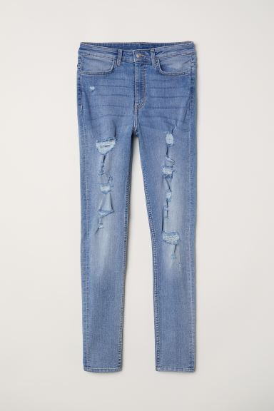 Super Skinny High Jeans - Denimblauw/trashed - DAMES | H&M NL