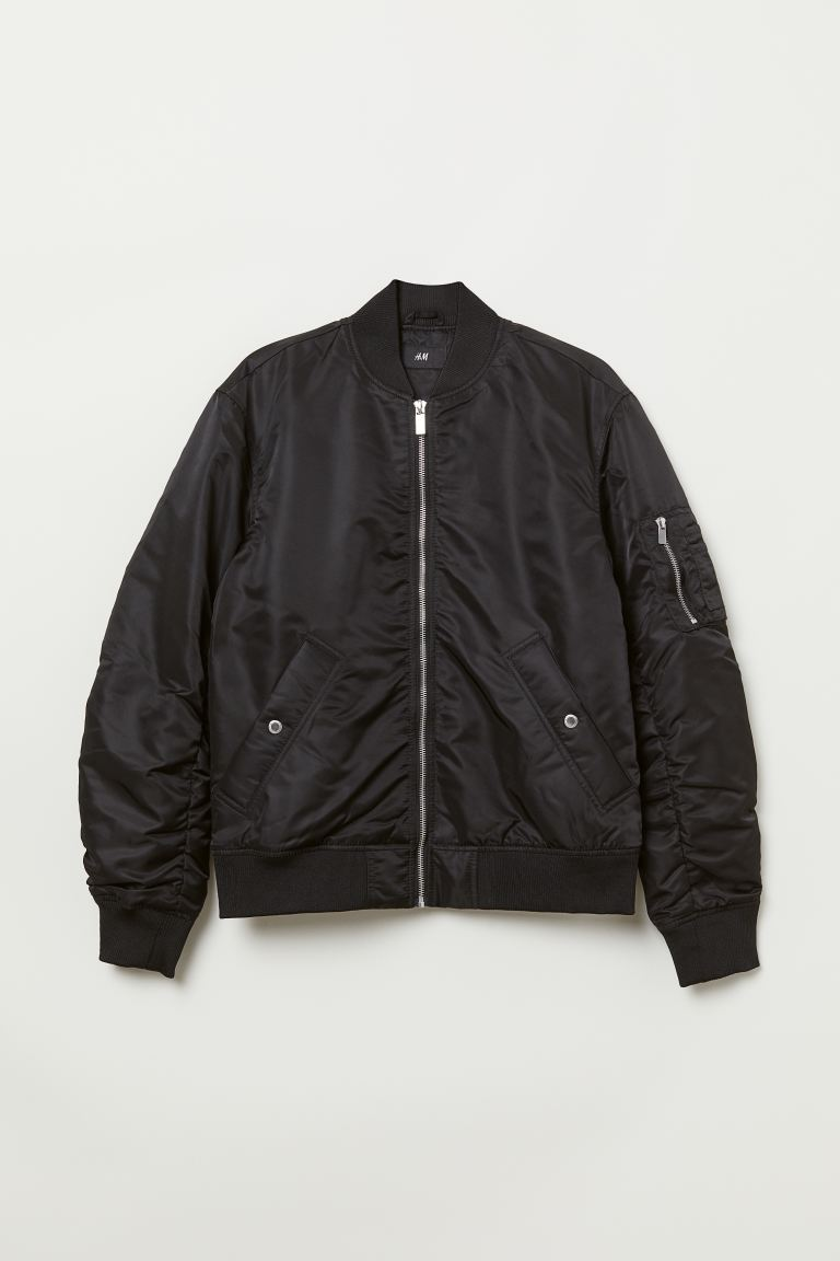 Padded Bomber Jacket - Black - Men | H&M US