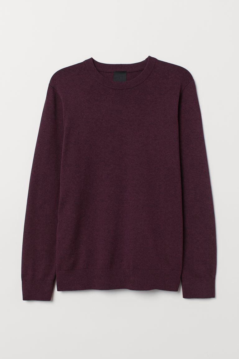 Fine-knit jumper - Plum marl - Men | H&M IN