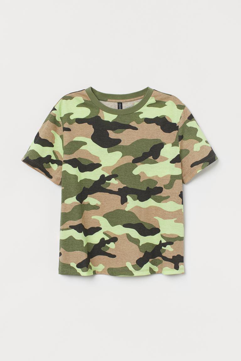Cotton T-shirt - Khaki green/Patterned - Ladies   H&M GB