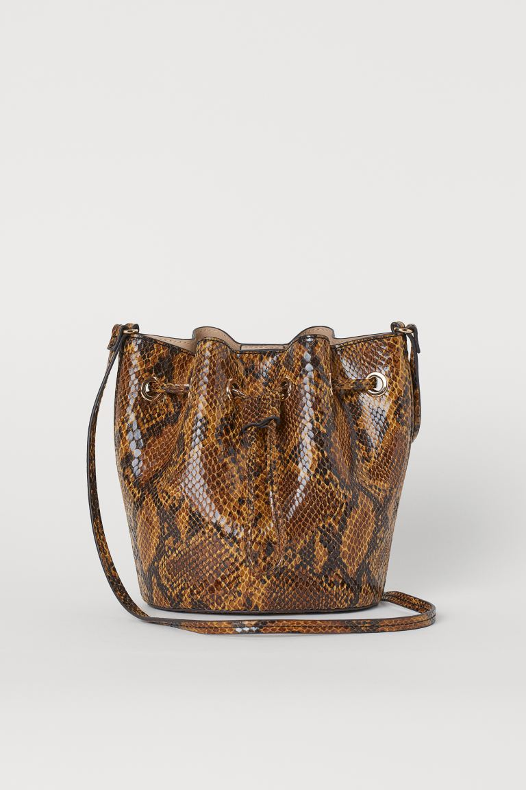 Small Bucket Bag - Brown/snakeskin-patterned - Ladies | H&M US