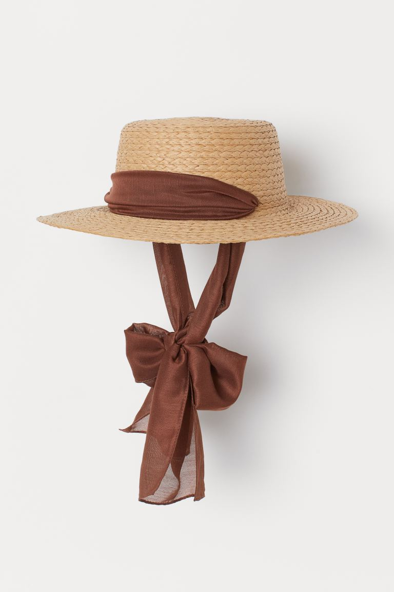Chin-tie Straw Hat - Beige/brown - Ladies | H&M US