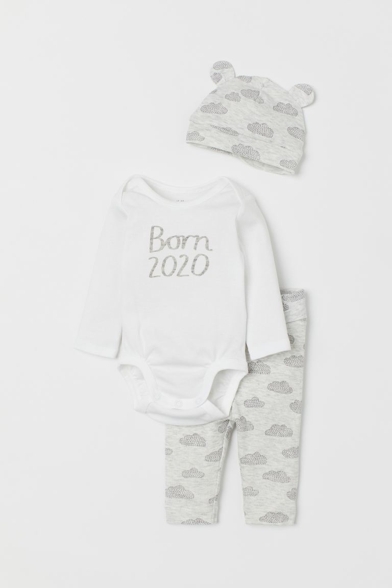 3-piece Cotton Jersey Set - Light gray melange/Born 2020 -  | H&M US