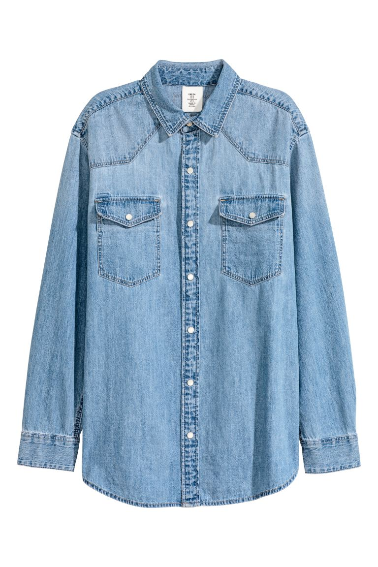 Oversized denim shirt - Denim blue - Ladies | H&M CA