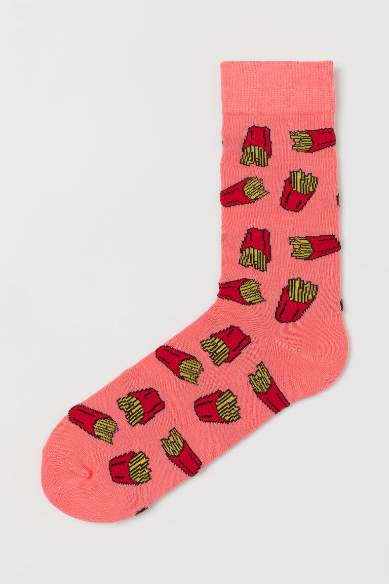 Patterned socks - Coral pink/French fries - Men | H&M IN