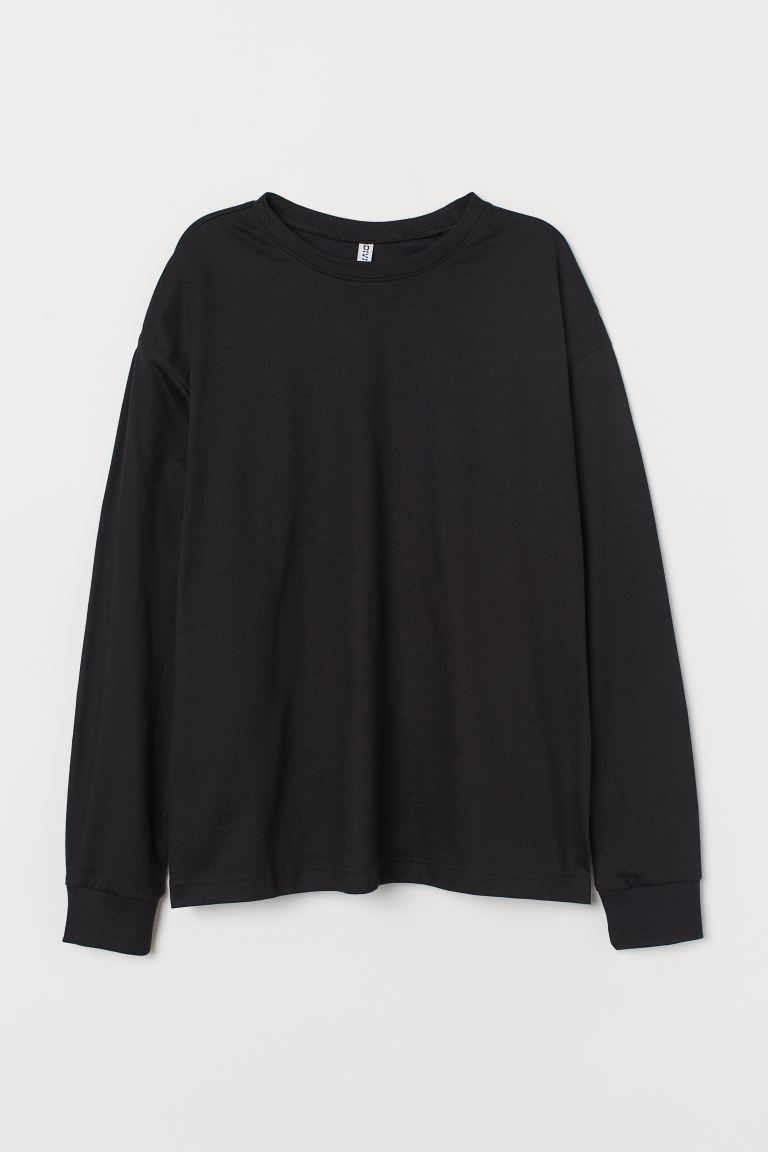 Cotton Jersey Top - Black - Ladies | H&M US