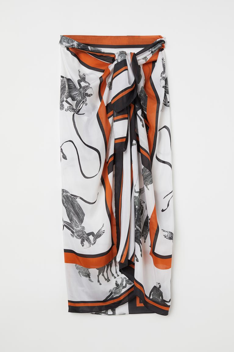 Silk-blend sarong - Rust - Ladies | H&M IN