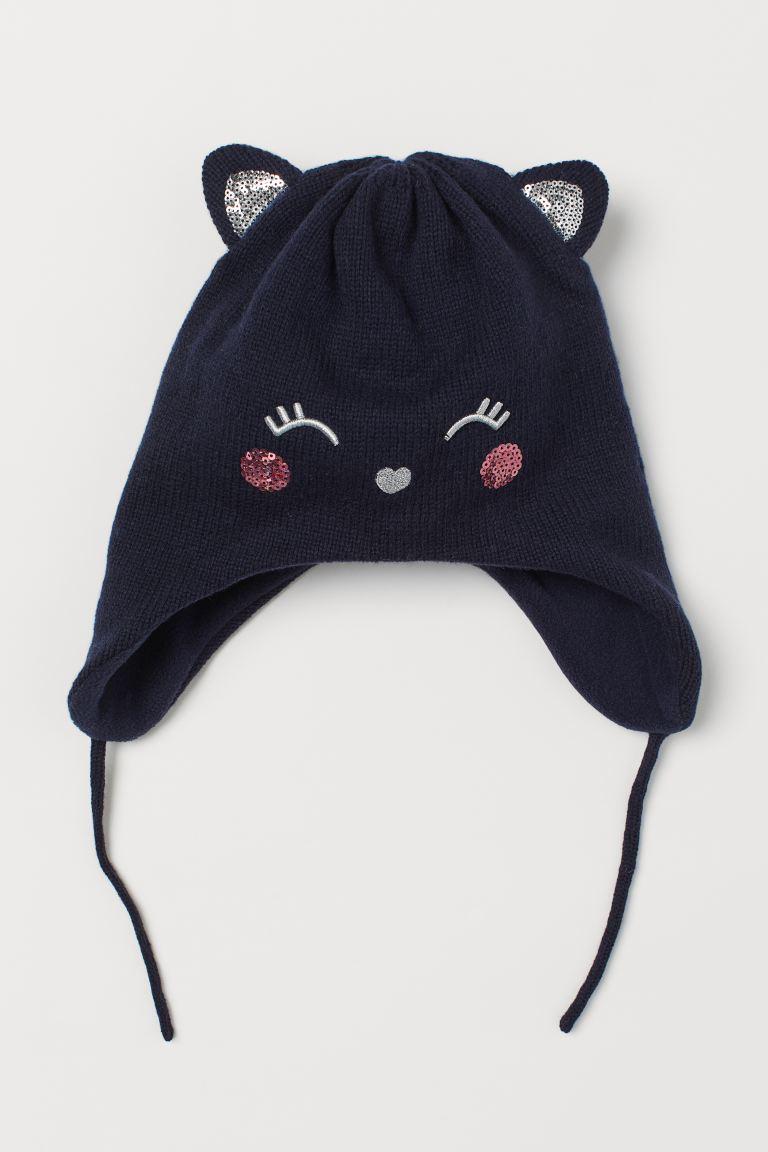 Fleece-lined hat - Dark blue/Cat -    H&M GB