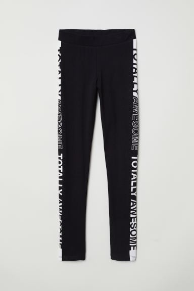 Printed jersey leggings - Black - Kids | H&M IE