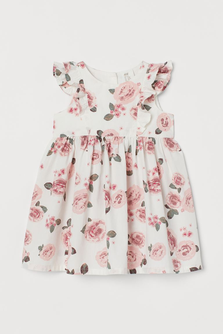 Flounced cotton dress - White/Roses - Kids | H&M IN