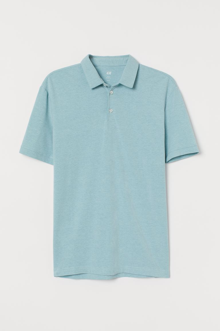 Polo shirt Slim Fit - Light turquoise marl - Men | H&M GB