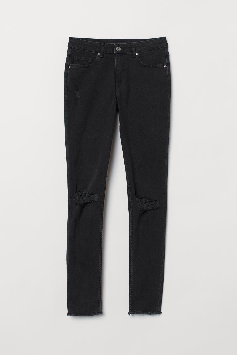 Skinny Regular Ankle Jeans - Black/Washed - Ladies   H&M GB