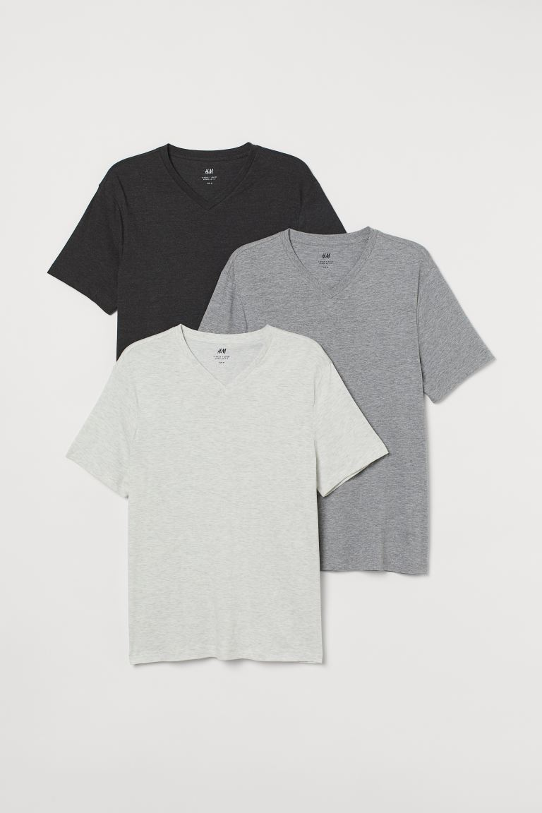 3-pack t-shirt Regular Fit - Gråmelerad - HERR | H&M SE