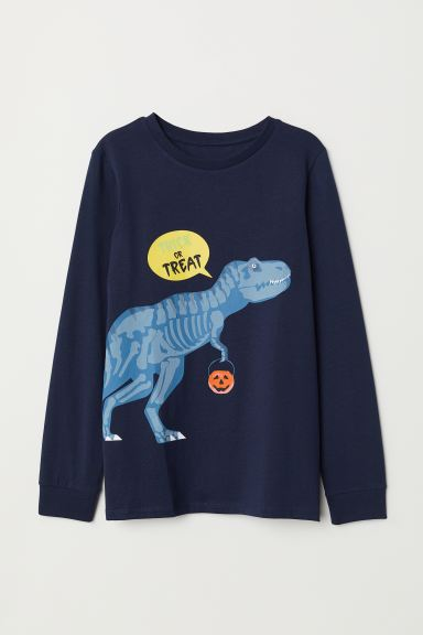 Printed Jersey Shirt - Dark blue/dinosaur - Kids | H&M CA