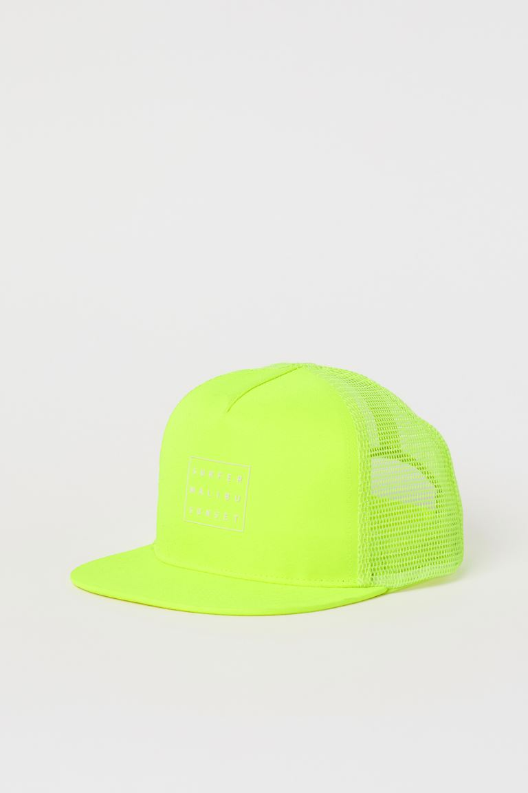Cap with a motif - Neon yellow - Kids | H&M