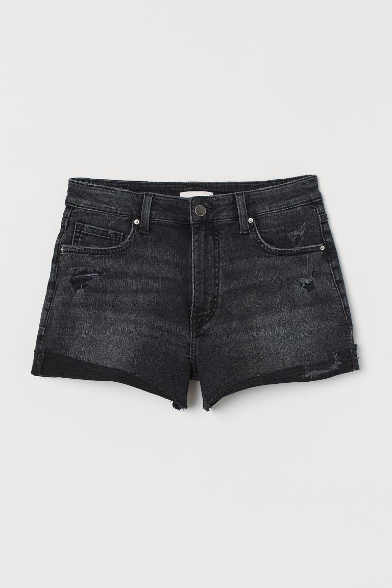 Shorts in denim - Nearly black - DONNA | H&M IT