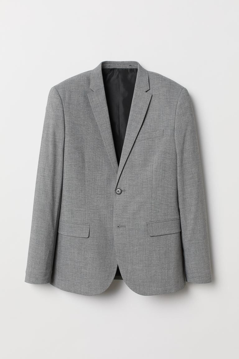 Jacket Skinny Fit - Light grey marl - Men | H&M