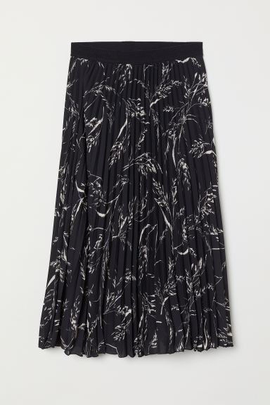 Pleated Skirt - Black/leaf-patterned - Ladies | H&M CA