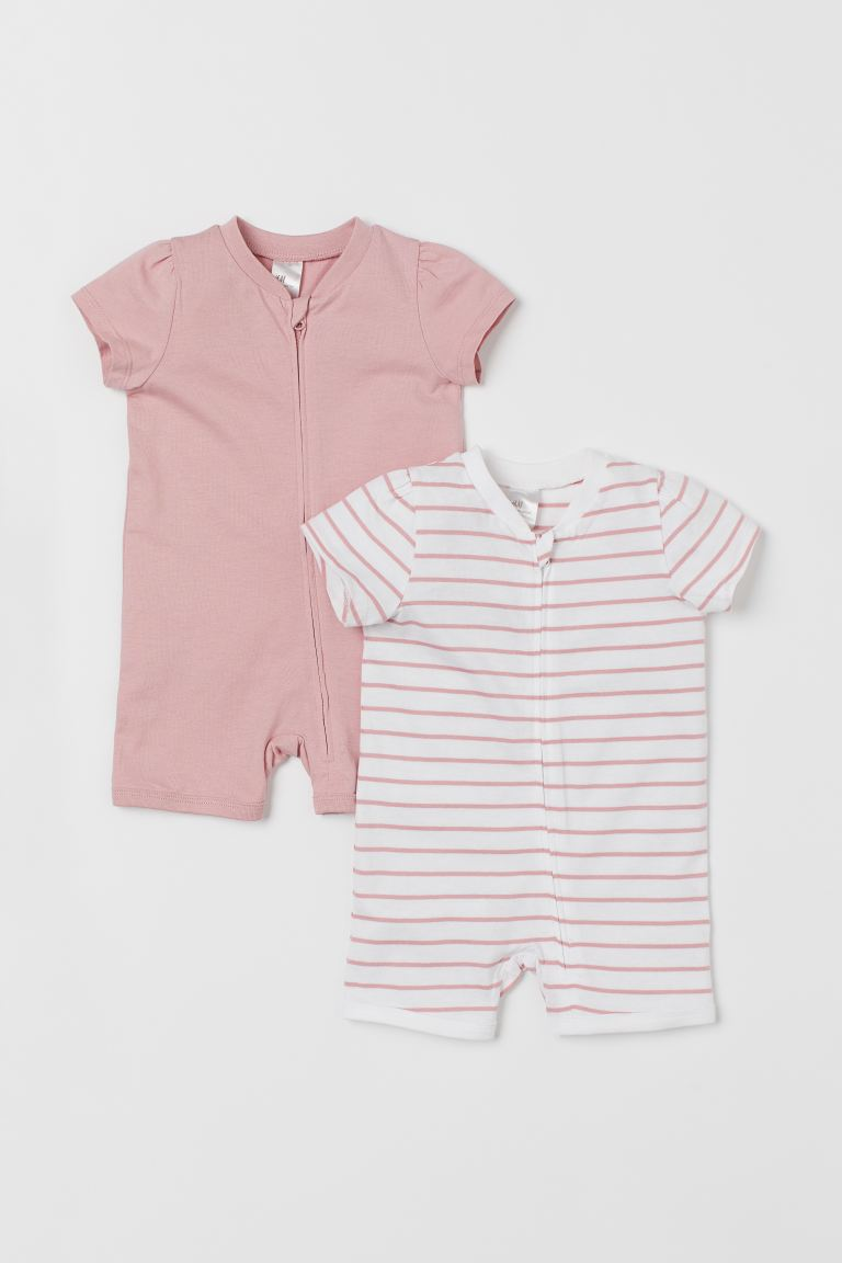 2-pack zip-up pyjamas - Pink/Striped - Kids | H&M