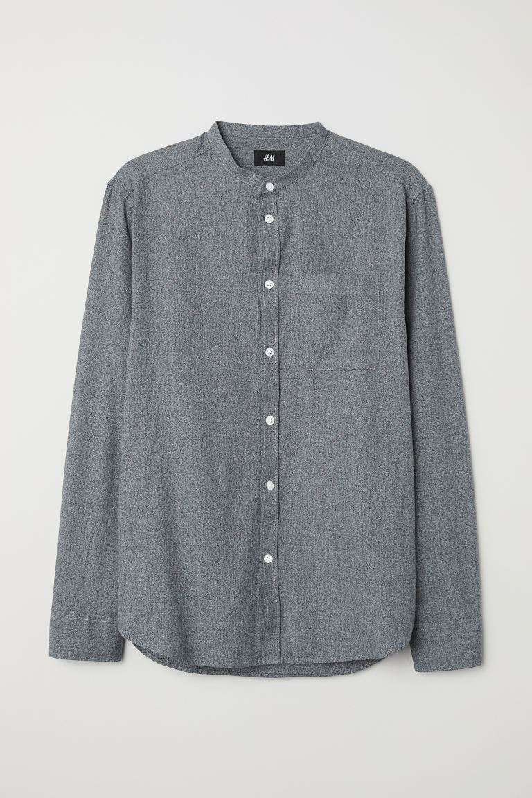 Regular Fit Collarless Shirt - Dark gray melange - Men | H&M US